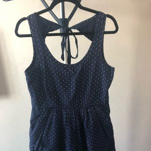 Dark blue with white dots dress with pockets